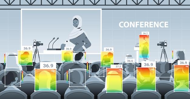 비접촉 열 ai 카메라 정지 코로나바이러스 발병 개념 수평 벡터 삽화로 회의 회의에서 기업인의 체온 상승 감지
