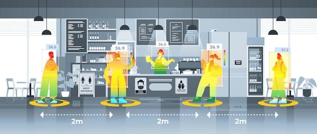 비접촉 열 ai 카메라 정지 코로나바이러스 발병 개념 수평 벡터 일러스트레이션으로 카페 검사에서 사람들의 체온 상승 감지