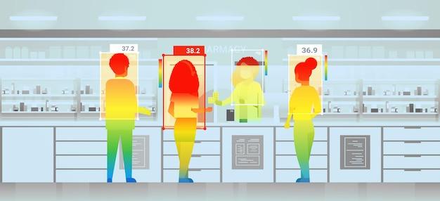비접촉 열 ai 카메라 정지 코로나바이러스 발병 개념 수평 벡터 삽화로 검사하는 약국에서 사람들의 체온 상승 감지