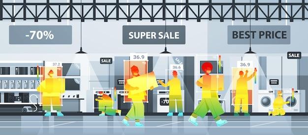 비접촉 열화상 ai 카메라 정지 코로나바이러스로 시장 확인 중인 사람들의 체온 상승 감지