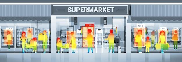 비접촉 열 ai 카메라 정지 코로나바이러스 발병 개념 수평 벡터 일러스트레이션으로 슈퍼마켓에서 걷는 사람들의 체온 상승 감지