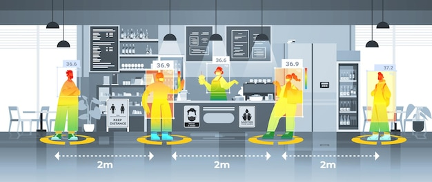 Detecting elevated body temperature of people in cafe checking by non-contact thermal ai camera stop coronavirus outbreak concept horizontal vector illustration