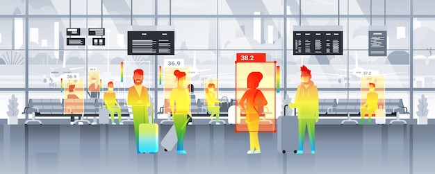 Detecting elevated body temperature of people walking in the airport checking by non-contact thermal ai camera stop coronavirus outbreak concept horizontal vector illustration