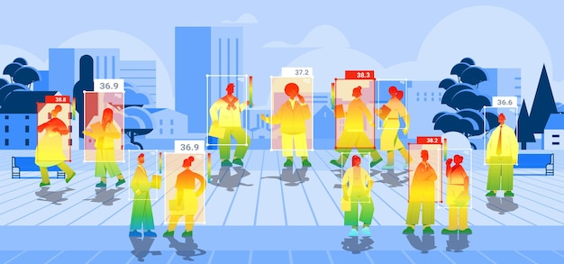 Detecting elevated body temperature of people walking in park checking by non-contact thermal ai camera stop coronavirus