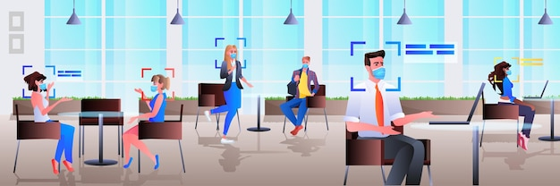 Detection and identification of businesspeople in office facial recognition system ai analyze big data concept horizontal full length  illustration