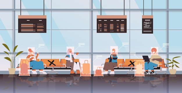 Detection and identification of people in airport terminal facial recognition system ai analyze big data