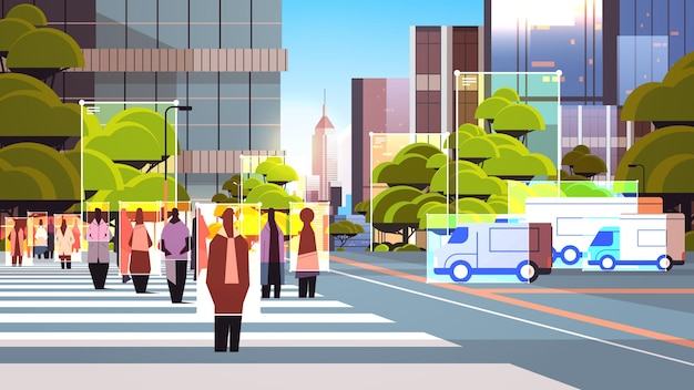 Detection and identification of people and cars on city street roads facial recognition ai analyze big data