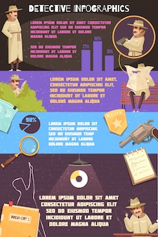 Detective agency infographics poster