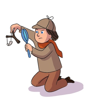 Detective boy collects evidence and investigates crime
