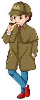 Detective in pipa per fumare soprabito marrone