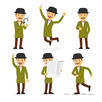 Detective character in different poses