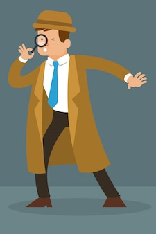 Detective character holding magnifying glass vector character