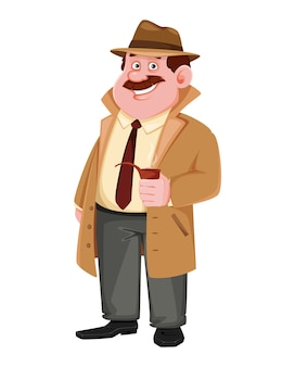 Detective character holding smoking pipe
