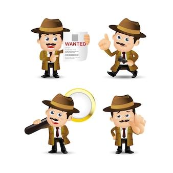 白い背景で隔離の探偵キャラクターイラスト