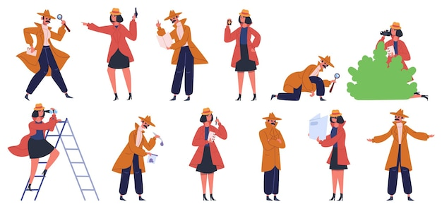 Detective character. male and female private detectives and inspectors investigate crime and look for evidence. police detectives set. agent officer in overcoat, female and male