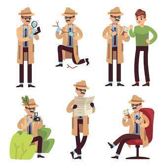 Detective character. police inspector looking crime photographing case search secret agent solving spy detect cartoon isolated