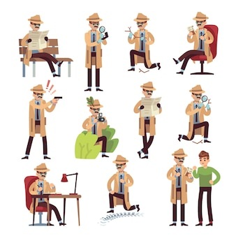 Detective characters illustration