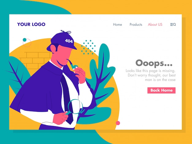 Detective error 404 illustration for landing page