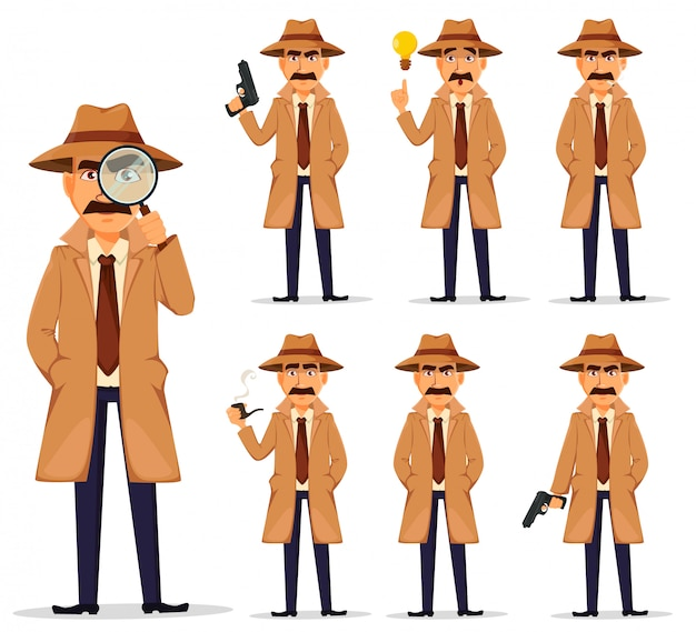 Detective in hat and coat, set