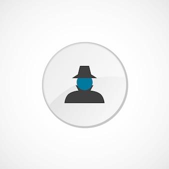 探偵アイコン2色、灰色と青、円のバッジ