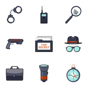 Detective icons set, cartoon style