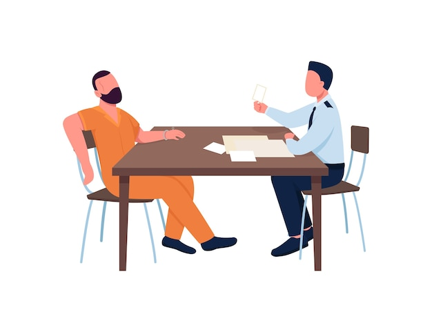 刑事尋問犯罪者のフラットカラーの顔のないキャラクター。警官と囚人。机の上の証拠。犯罪調査は、webグラフィックデザインとアニメーションの漫画イラストを分離しました