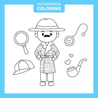 Detective job occupation coloring page