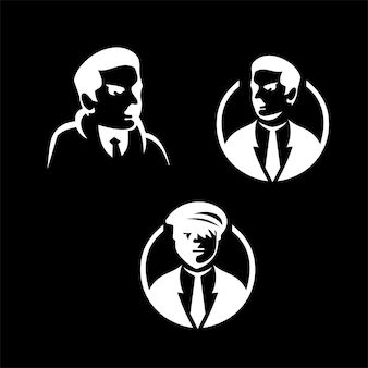 Detective logo set with black and white