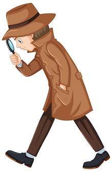 Detective alla ricerca di indizi con la lente d'ingrandimento