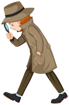 Detective looking for clues with magnifying glass