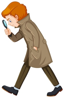 Detective uomo con lente d'ingrandimento