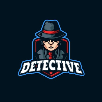 Детектив талисман дизайн логотипа значок