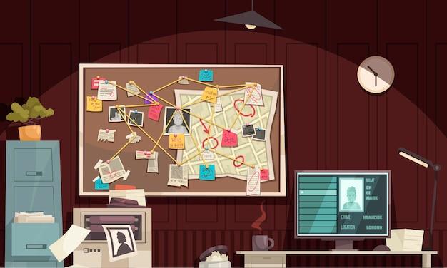 범죄 현장 다이어그램 보드 컴퓨터 모니터 범죄 프로필 일러스트와 함께 탐정 사무실 인테리어 평면 만화 구성