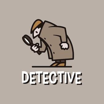 探偵レトロ漫画マスコットロゴ