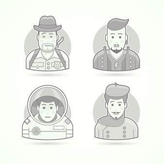 Detective, rock star, astronaut, artist icons. set of character portrait  illustrations.  black and white outlined style.