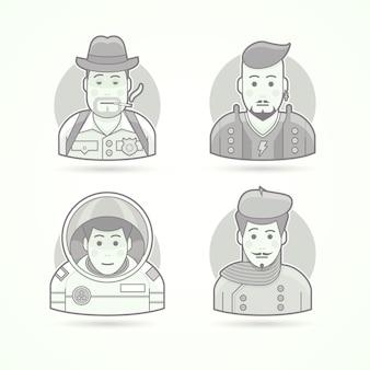 探偵、ロックスター、宇宙飛行士、アーティストのアイコン。キャラクターポートレートイラストのセットです。黒と白のアウトラインスタイル。