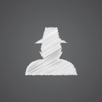Detective sketch logo doodle icon isolated on dark background