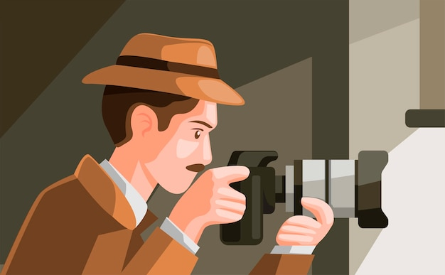Detective spying hiding behind window and capture photo with digital camera in cartoon illustration