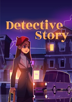 Detective story cartoon poster young woman on night rainy street