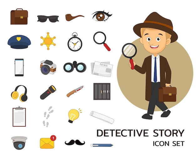 Детективная история концепции плоские иконки