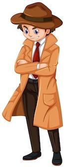 茶色のオーバーコートと帽子をかぶった探偵