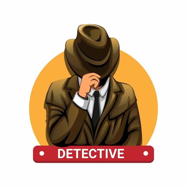 Детектив с концепцией персонажа в шляпе в иллюстрации шаржа