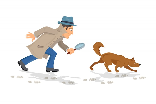 Detective with magnifying glass and tracker dog hunting traces