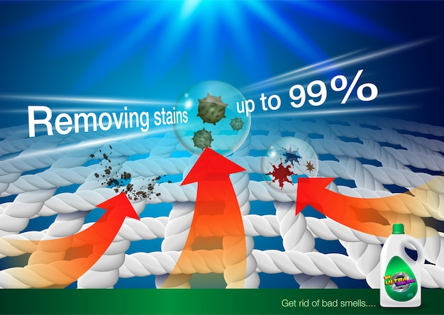 Detergent ads. zoom image fabric fiber shows the product's stain removal power.