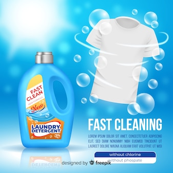 Detergent advertising with realistic design