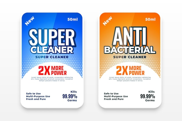 Detergent and anti bacterial labels set
