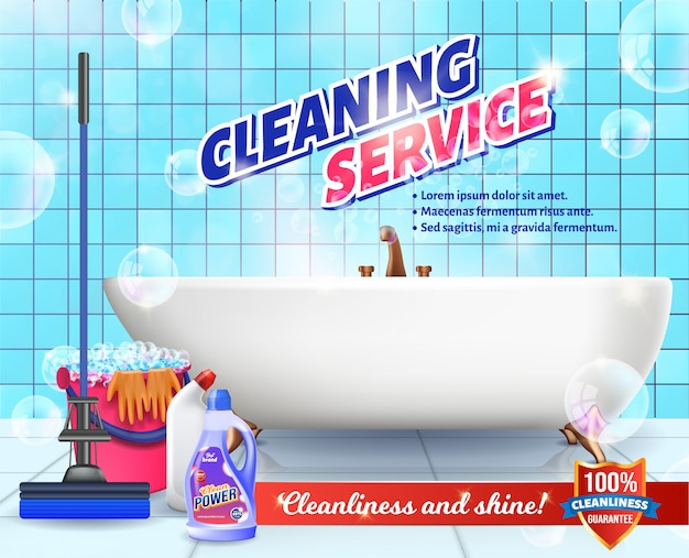 Detergent on background bathroom. cleaning service