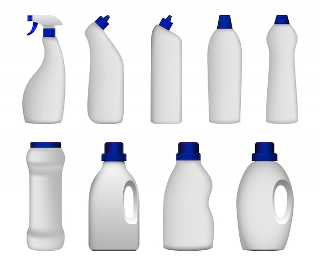 Detergent bottle clean mockup set