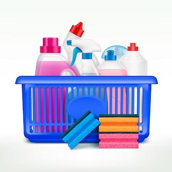 市場のバスケットにある洗浄液のプラスチックボトルのリアルな画像を備えたバスケット組成の洗剤ボトル