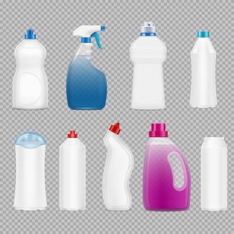 洗剤のボトルは、石鹸で満たされた孤立したプラスチックボトルで透明な現実的な画像のセット
